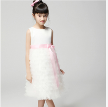 Summer  Tank Ribbon Bowknot Pleated Dresses Children Butterfly Wedding Dressy Childs Ruffle Tulle Dress Kids Vest Dress Ivory