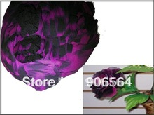 Purple and black double color mesh flowers,nylon stocking material for DIY flower,20pcs/lot free shipping(China)