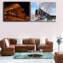 Two-pieces Vintage Train View Printed On Canvas Poster Unframed Landscape Tech Picture Modern Home Living Room Background Murals(China)