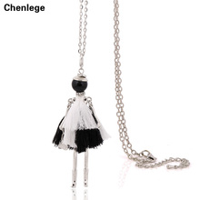 french tassel necklace long chain doll statement necklace pendant 2017 new style big collar fashion jewelry for women choker(China)