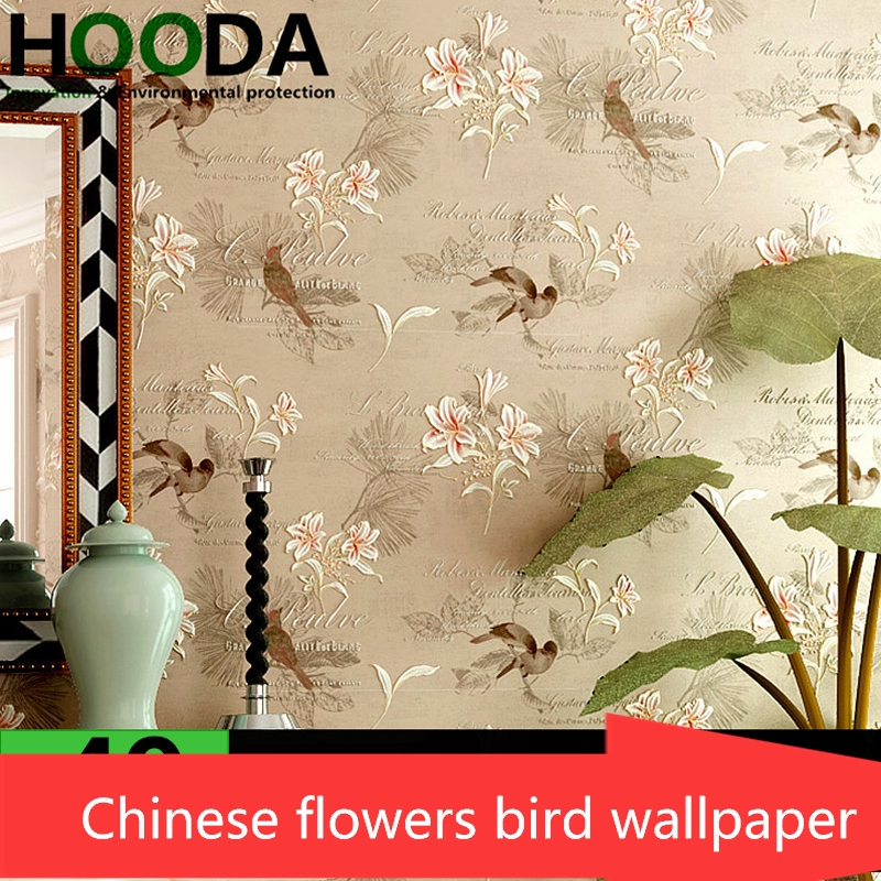New  Chinese Classical Wall paper Flower Birds American Village Nonwovens Study Room Living Room Bedrooms Wallpapers Wall roll<br>