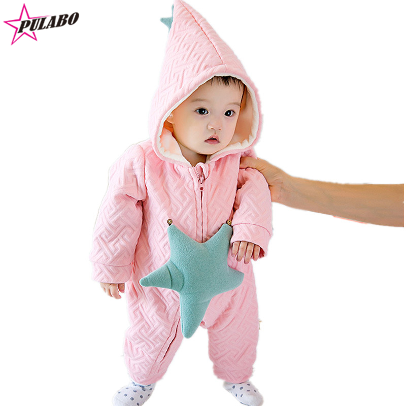 2016 New arrival fall&amp;winter baby hooded zipper romper boys and girls star print  jumpsuit baby lovely clothing<br><br>Aliexpress