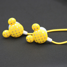 MOONBIFFY lovely Mouse In-ear Earphone Dot on The Cover Earphones For MP3 Players Earbud Headset 9 Colors Free Shipping(China)