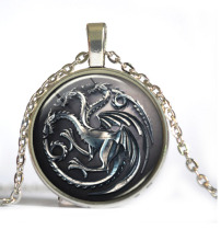 Game Of Thrones Necklace, House Targaryen Song Of Ice And Fire Dragon Necklace Art photo Necklace Jewelry