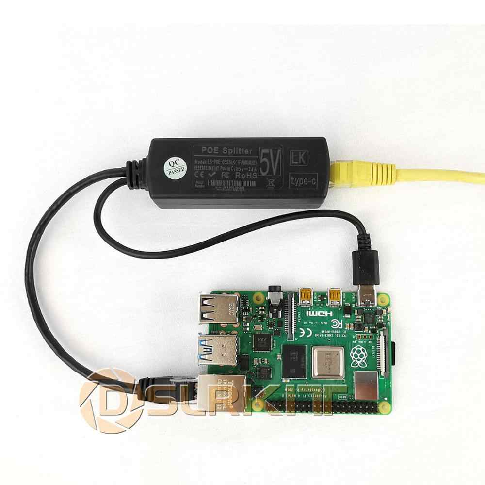 DSLRKIT Raspberry Pi 4 4B активный сплиттер POE USB TYPE C 5V Power Over Ethernet 802.3af