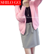 Plus size Free shipping 2016 autumn new women high quality Korean version of the candy-colored knit hooded cardigan baseball