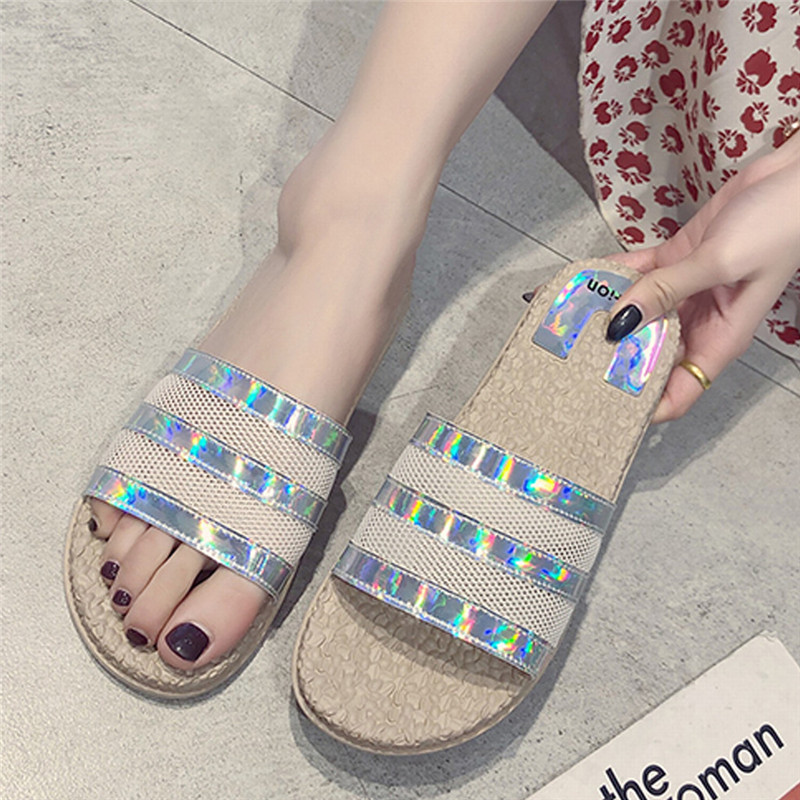 UK Womens Pearl Sequin Sandals Ladies Summer Beach Shiny Casual Slippers Home