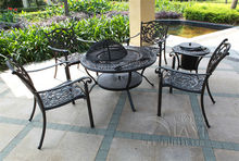 6-piece Best-selling cast aluminum table and chair Outdoor furniture,BBQ table transport by sea