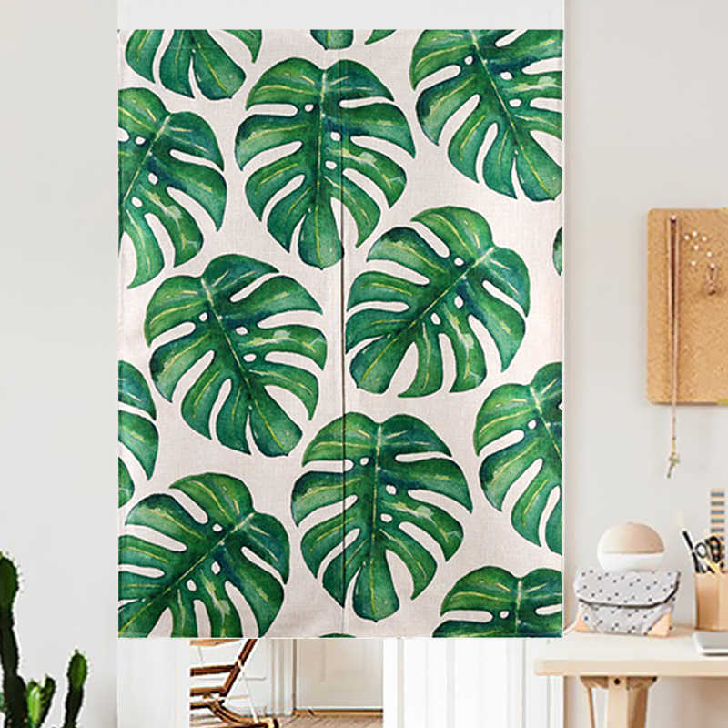 New Watercolor Tropical Linen Curtain Green Monstera Plants Leaf Kitchen Curtains for Living Room Valance Tapestry Short Long