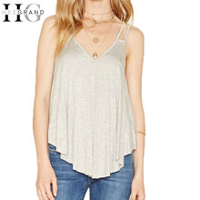 HEE GRAND Women V-Neck Camis Tops Solid Color Loose Type Tanks Summer Casual Tee Tops Sexy Back Hollow Out Vest  WBS288
