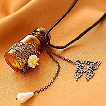 Fashion jewelry 2016 necklace Carved long leather cord necklaces & pendants retro cork Wishing bottle sweater chain(China)