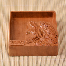 Household Ebony Wood Craft Ornaments Ashtray High Temperature Surface Carved Living Room Crafts 12*12*4cm(China)