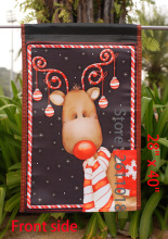 "Candy Cane Reindeer - Decorative Rudolph Winter Christmas Holiday Garden Flag - ""12.5 x 18"" ""28 x 40"" Inches"