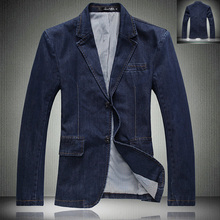 Spring Autumn Fashion Men's Slim Fit Cotton Blue Denim Jacket , Casual Suit Collar Buttons Jean Blazer Coats ,   Blazers For Men