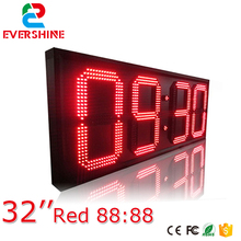 32'' large led countdown clock red color led digital sign size 2500x1000x90mm outdoor display board(China)