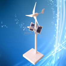 Mini Wind Turbine Model, Wind Solar Power System LED Street Light Model for Decoration and Teaching Tool(China)