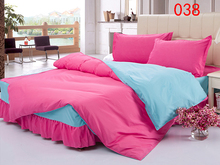 Twin Full Queen Rouge Polyester Bed Skirt 4Pcs Bedding Set Dust Ruffle Set Bedclothes Sets Duvet Cover Quilt Cover Pillowcase(China)