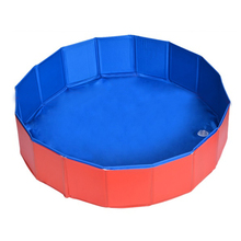 Foldable Pet Dog Swimming House Bed Summer Pool Blue+Red(China)