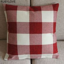 "1pcs High Quality Cotton Blend Linen Red White Checked Home Office Sofa Soft Decor Pillow Case Cushion Cover 45cm 18"" PT172(China)"