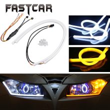 2x 30cm 45cm 60cm 85cm Dual Color LED Day Light DRL COB Turn Signal Daytime Running Lights Angel Eye Flexible LED Strip Fog Lamp(China)