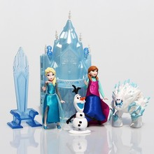 Princess Castle Ice Palace Throne Play Set Elsa Anna PVC Model Toys Set of 6 Snowman Sven Figure Doll Free Shipping(China)