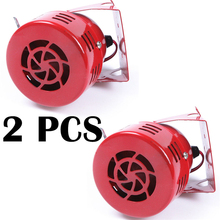 2 pcs 12V Car Motorcycle Truck Driven Air Raid Siren Horn Alarm Loud Fire Security Rescue Automotive Motor Driven Alarm