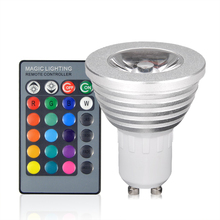 1Pcs Dimmable GU10 3W 16 Colors 85V- 265V RGB LED Lamp For Decoration Atmosphere Spotlight Bulb With 24Key IR Remote Controller(China)