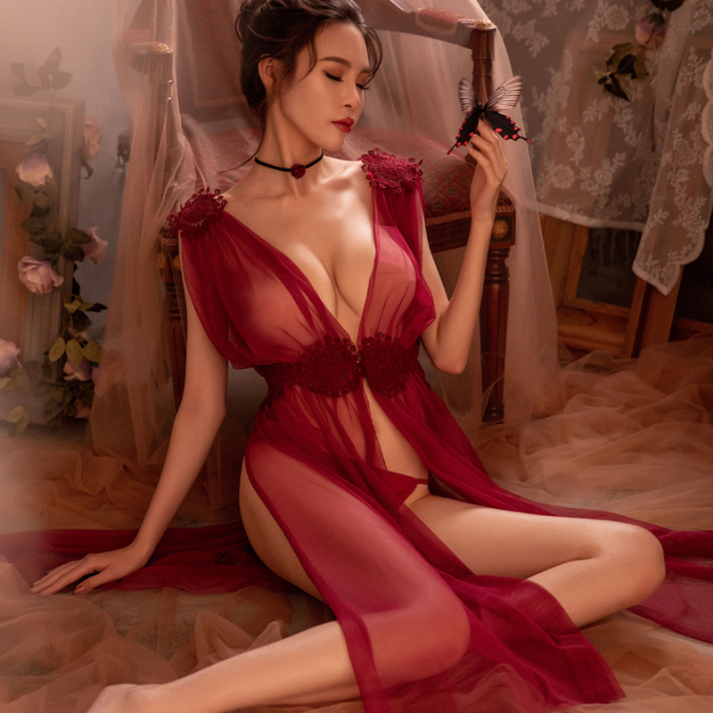 Sexy Lingerie Nightgowns Sleepshirts Embroidery Sheer Lace Long Net Gauze High-Quality title=