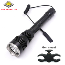 Discount 500 Meter Long Range Light HS-802 CREE XM-L2 U3 1 Mode(On/Off) LED Hunting Flashlight +Remote Switch + Gun Mount Holder