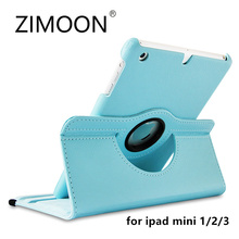 Zimoon Case For Apple iPad mini 1 2 3 Magnetic Auto Wake Up Sleep Flip Litchi Leather Cover With Smart Stand Holder(China)