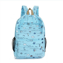 TuLaduo Colorful Young Fashion School Bags Fresh Bright Blue Backpack Women Good Quality Variety Match Backpacks For Girls