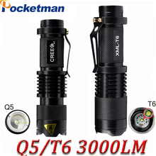 Newest Mini Light Cree xml t6 q5 flashlight powerful Zoomable Tactical Flashlight waterproof led torch lanterna flash max 3000LM