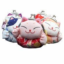 M316 Cute Lucky Cat A Variety Of Image Hasp Silk Zero Wallet Cloth Coin Purses Canvas Bag Women Student Gift(China)