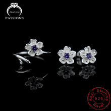 Hot Sale 925 Sterling Silver Sakura Rings Stud Earrings Women Jewelry Set Fashion Gift Purple AAA+ Cubic Zirconia Jewelry Sets