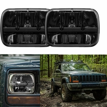 "Universal 7x6  Square High Low Beam H4 LED For Jeep XJ Projector Headlight 7x6"" LED Headlight Sealed Beam Replacement Black"