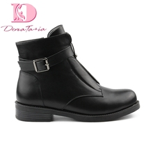DoraTasia 2019 Brand New 버클 스퀘어 (times square) 힐 Women Boots Plus Size 42 Black Ankle Boots 칙 Style Women Shoes(China)