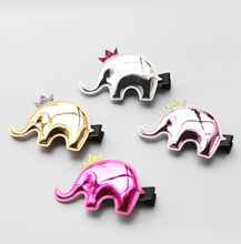 1 PCS 2017 New Korean Angela Cute Baby Girls Hairpins Cartoon PU Elephant Clip Hair Clips Kids Children Accessories