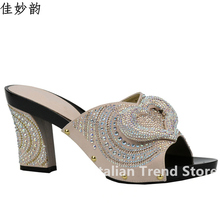 New Peach Color Shoes African Wedding Shoe Elegant Italian Women Shoes with Stone High Heels Women Rhinestone Pumps for Parties