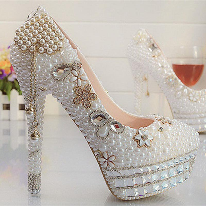2017 Handmade! Fashion Tassel White Pearl Rhinestone Wedding Shoes Woman Brand High Heels Ladies Women Pumps Bridesmaid Shoes<br><br>Aliexpress