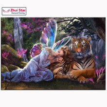 3D DIY Diamond Painting Needlework Diamond Mosaic Pictures Rhinestones Embroidery Fairy with Tiger Hobbies and Crafts Home Decor