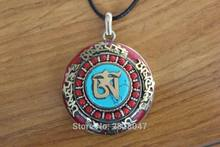 PN943 Ethnic Tibetan Large Six Words Mantra Prayer Box Pendant Nepal Handcrafted Brass 41mm Big Round Amulet Pendant(China)
