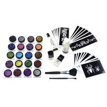 GIitter boby art tattoo kits 20 Colors Temporary Glitter Tattoo Kit for Body Art with Stencil Glue and Brushes GTTK-4 T008- DD