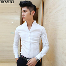 New spring 2016 men's pure color thin shirt collar Men's boutique fashion leisure cotton shirt male casual dress business shirts