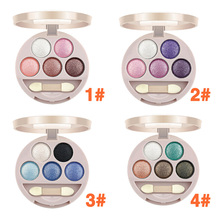 4 Style  New Dual-use 5 Colors Eye Shadow Wet&Dry Eye Shadow for Lady Makeup Product Free Shipping SS