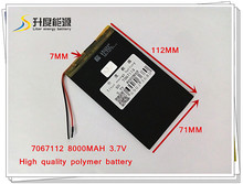 3.7V 8000mAH 7067112 Polymer lithium ion battery / Li-ion battery for POWER BANK;tablet pc,,,ainol,ampe