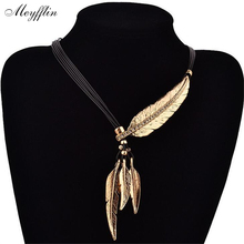 Fashion Alloy Feather Necklaces Peandants Rope PU Leather Collier Vintage Maxi Necklace Women Jewelry Bijoux Accessories