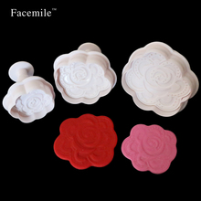 3pcs Fondant Rose Flower Plunger Cutter Mold Gigt Decorating Tool Gigt Cutter Biscuit Cookie Mold Sugar Craft Mould 03018