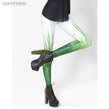 Joggings Wear Soft Leggings Ankle Length Sexy Womens 3D Skinny Green Grass Plants Print Nightclub Punk Ladies Gothic Pants White