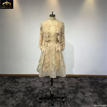 Surmount Customized Champagne Full Sleeves Two Piece Short High Quality Homecoming Dresses robe soiree(China)
