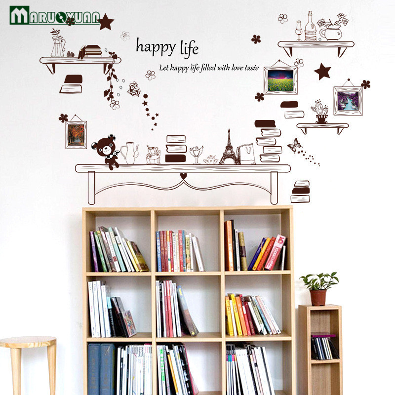 Cafe Bookcases Vase Stickers Bedside Bedrooms Dorms Warm Room Stickers Living Room Background Wall Decorative Wall Stickers(China)